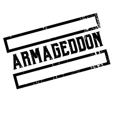 armageddon advertising sticker, label, stamp on white