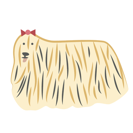 Lap-dog with a bow flat illustration. Home dog and cat lifestyle series.