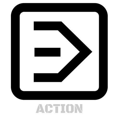 Action concept icon on white flat illustration.