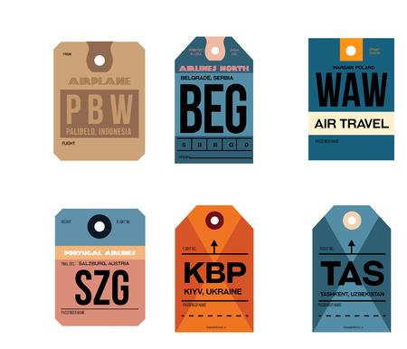 palibelo belgrade warsaw kiyv tashkent salzburg airline baggage tags flat illustration. Vettoriali