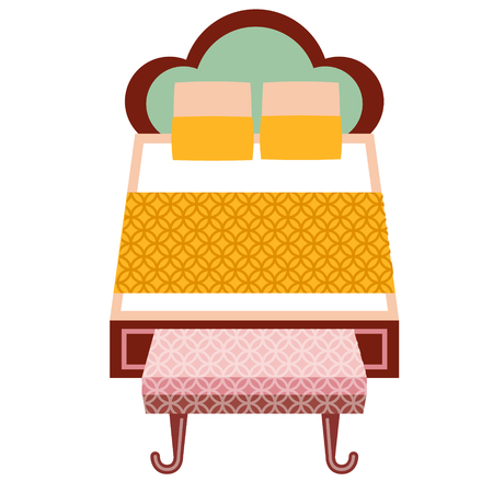 Double bed flat illustration. Home, travel and lifestyle series.