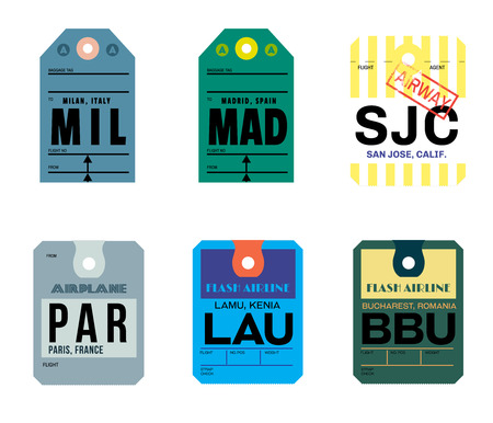 milan madrid san jose paris lamu bucharest airline baggage tags flat illustration. Çizim