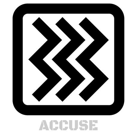 Accuse concept icon on white flat illustration.