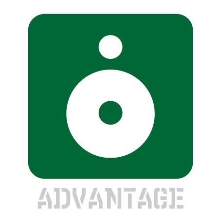 Advantage concept icon on white flat illustration.