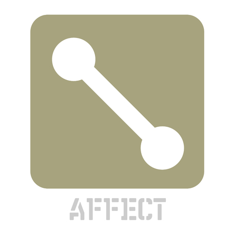 Affect concept icon on white flat illustration. Иллюстрация