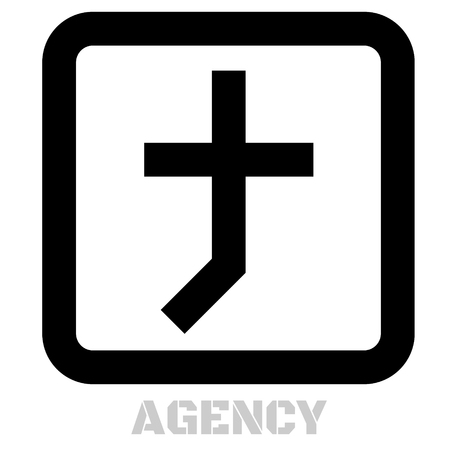 Agency concept icon on white flat illustration.