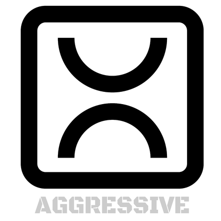 Aggressive concept icon on white flat illustration.