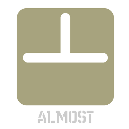 Almost concept icon on white flat illustration.