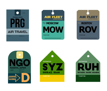 prague moscow rostov nagoya shiraz riyadh airline baggage tags flat illustration. Vektorové ilustrace