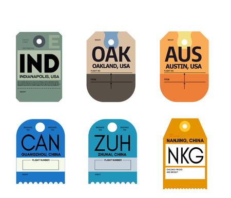 guangzhou zhuhai nanjing indianapolis auckland austin airline baggage tags flat illustration.
