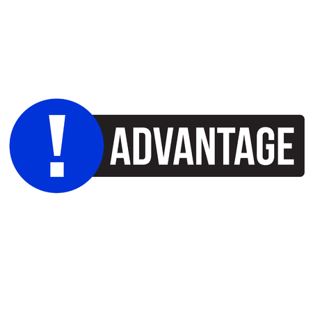advantage advertising sticker, label, stamp on white