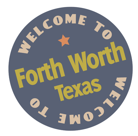 Welcome to Forth Worth Texas tourism badge or label sticker. Isolated on white. Vacation retail product for print or web. Foto de archivo - 119006541