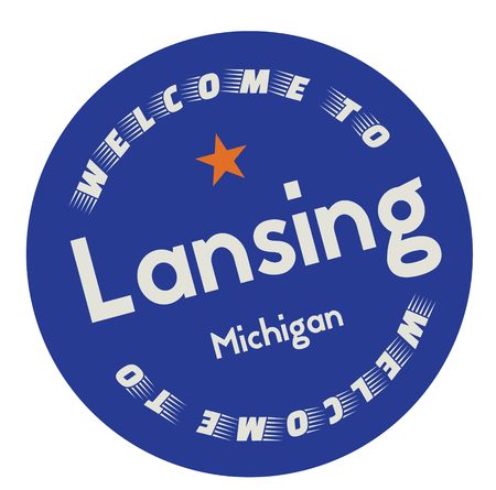 Welcome to Lansing Michigan tourism badge or label sticker. Isolated on white. Vacation retail product for print or web.