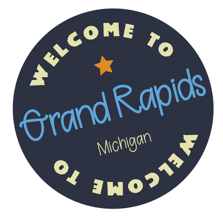 Welcome to Grand Rapids Michigan tourism badge or label sticker. Isolated on white. Vacation retail product for print or web. Illusztráció