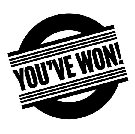 you have won black stamp, sticker, label, on white background Vector Illustratie