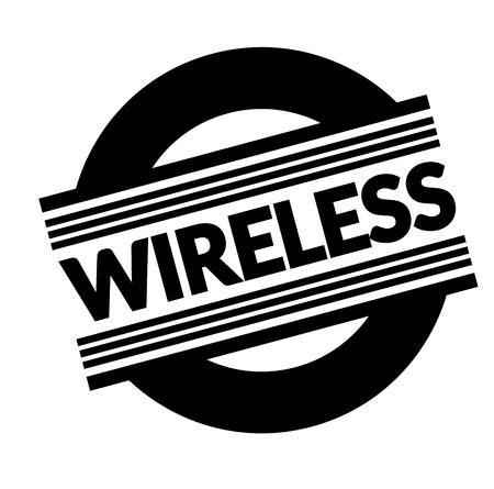 wireless black stamp, sticker, label on white background
