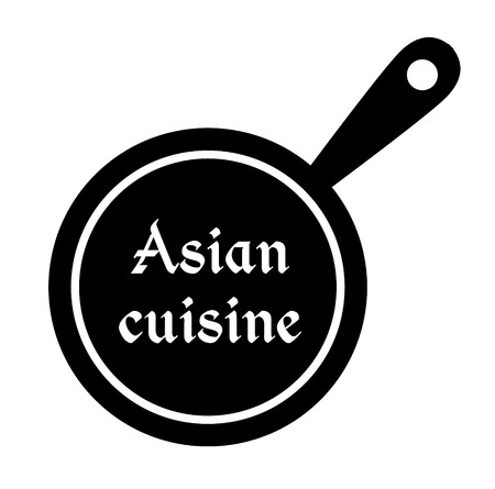 Asian cuisine stamp on white background. Sticker or label.