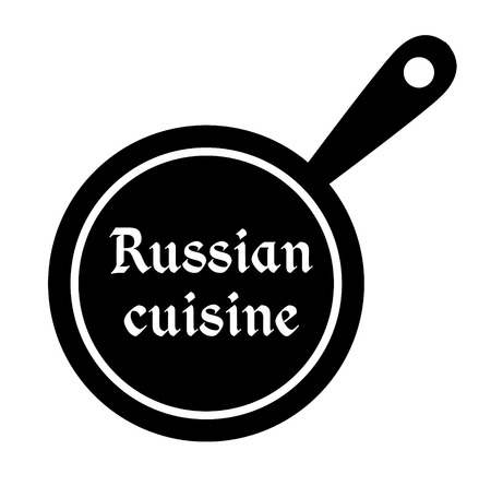 Russian cuisine stamp on white background. Sticker or label.
