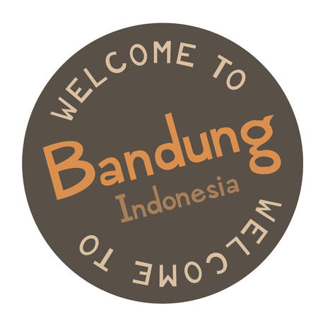 Welcome to Bandung Indonesia tourism badge or label sticker. Isolated on white. Vacation retail product for print or web.