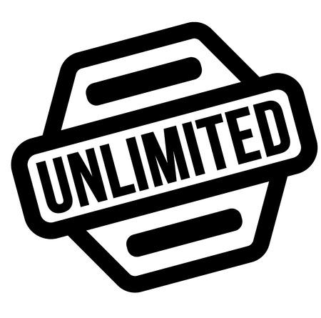 unlimited black stamp, sticker, label on white background