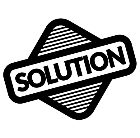solution black stamp, sticker, label on white background