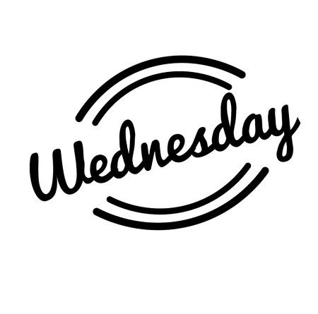 wednesday black stamp, sticker, label on white background Vector Illustration