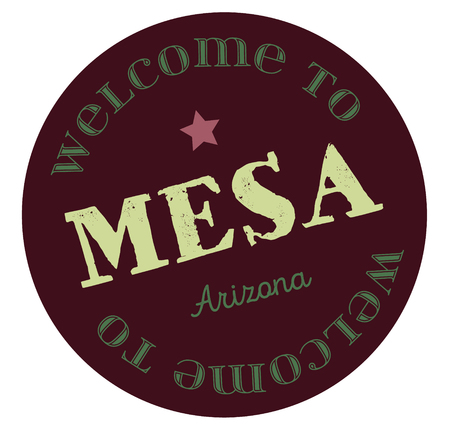 Welcome to Mesa Arizona tourism badge or label sticker. Isolated on white. Vacation retail product for print or web.