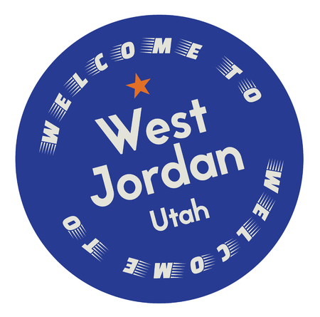 Welcome to West Jordan Utah tourism badge or label sticker. Isolated on white. Vacation retail product for print or web.