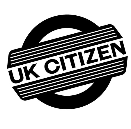 Ciudadano del Reino Unido sello negro, adhesivo, etiqueta, sobre fondo blanco.