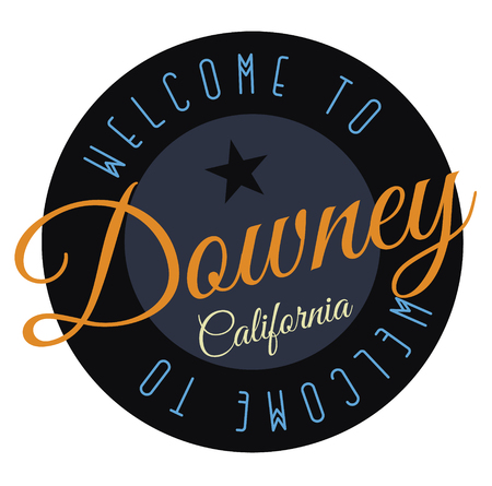 Welcome to Downey California tourism badge or label sticker. Isolated on white. Vacation retail product for print or web.