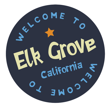 Welcome to Elk Grove California tourism badge or label sticker. Isolated on white. Vacation retail product for print or web.