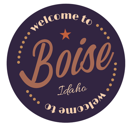 Welcome to Boise Idaho tourism badge or label sticker. Isolated on white. Vacation retail product for print or web.