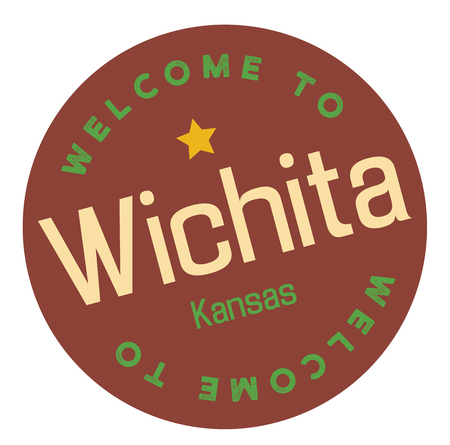 Welcome to Wichita Kansas tourism badge or label sticker. Isolated on white. Vacation retail product for print or web. Illustration