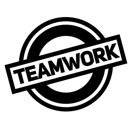 Trabajo en equipo sello negro, adhesivo, etiqueta sobre fondo blanco.