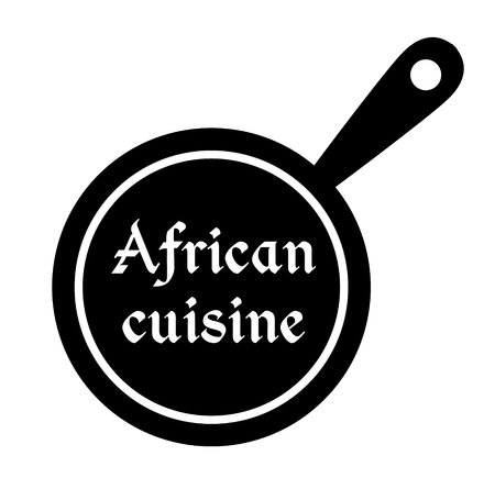 African cuisine stamp on white background. Sticker or label.