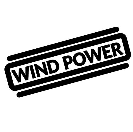 wind power black stamp, sticker, label, on white background Ilustrace