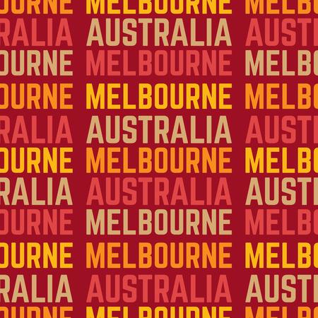 Melbourne, Australia seamless pattern, typographic city background texture