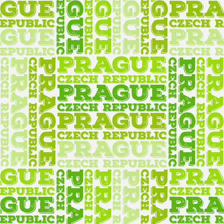 Prague, Czech Republic seamless pattern, typographic city background, texture