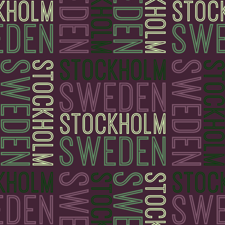 Stockholm, Sweden seamless pattern, typographic city background texture