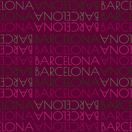 Barcelona, Spain seamless pattern, typographic city background texture Vettoriali