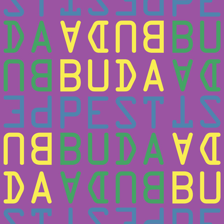 Budapest, Hungary seamless pattern, typographic city background texture