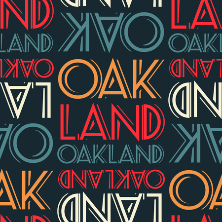 Oakland, USA seamless pattern, typographic city background texture