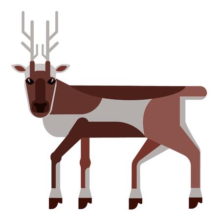reindeer flat illustration Wild life plants and animals series
