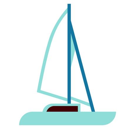 yacht flat illustration Marine creatures and underwater world series Illustration