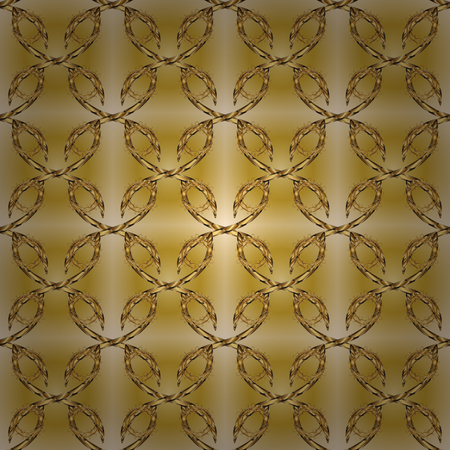 Vintage seamless pattern on a beige and yellow colors with golden elements. Christmas 2019, snowflake, new year. Stock Photo