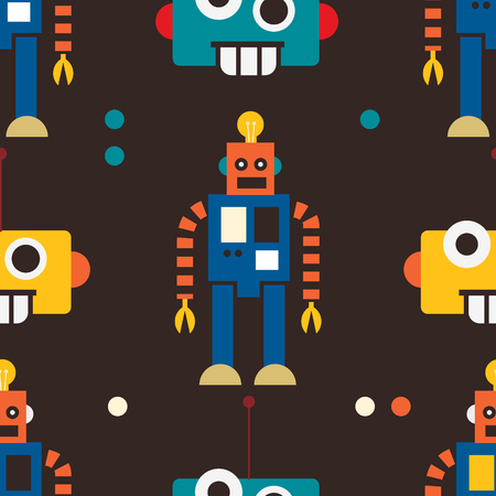 Geometric color robot seamless pattern. Repeat surface design 版權商用圖片 - 124330549