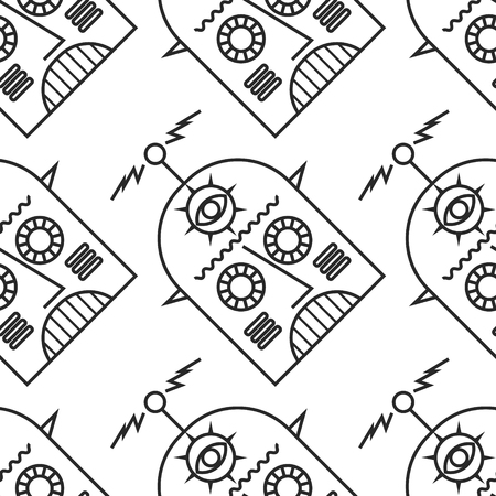Black and white line art seamless robot pattern 向量圖像