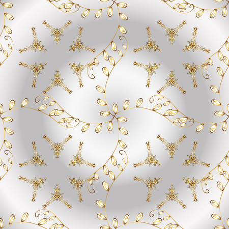 Vector seamless pattern on neutral and gray colors with golden elements. Damask seamless pattern for design. Иллюстрация