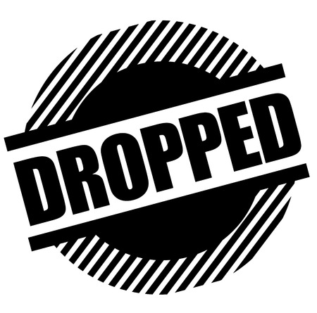 Dropped stamp on white background. Sign, label sticker Ilustração