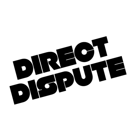 Direct dispute stamp on white background. Sign, label, sticker